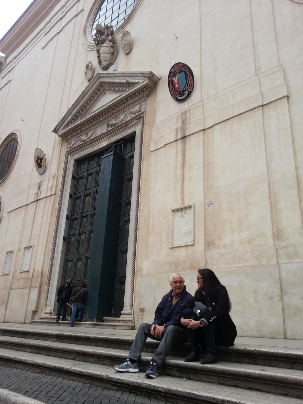 On the steps of the Basilica Santa Maria Sopra Minerva.