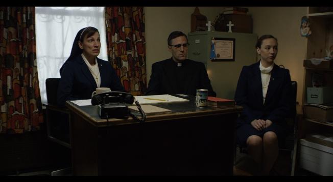 From left to right: Milica Govich Vukasovich as Sr. Margaret, Jonathan C. Stewart as Bishop Thomas Gumbleton, Alysia Kolascz as Sr. Elizabeth.