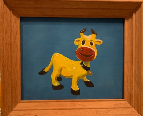 Pop-Pop Bredbenner's painting of a yellow cow. I have no idea why he painted this, but I remember this hanging in my grandparent's basement, and my grandmother gave this to me a few years after Pop-Pop passed away.