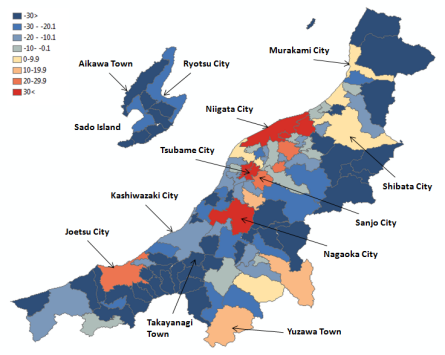 Map 3 . Population Change in Niigata Prefecture by Municipality in Percent (2000 Boundaries), 1950–1990. Source: Higashide (2008); Niigata ken (2009);  Niigata ken Website .