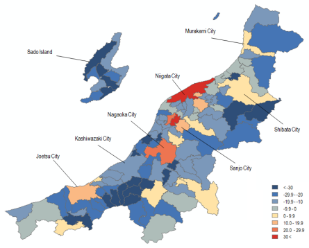 Map 10 . Population Change in Niigata Prefecture by Municipality in Percent (2000 Boundaries), 1950–1970. Source: Higashide (2008); Niigata ken (2009);  Niigata ken Website .