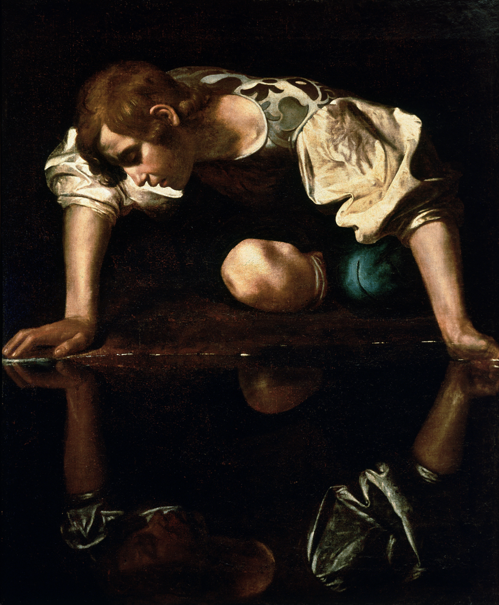 Narcissus  (1590s) by  Caravaggio