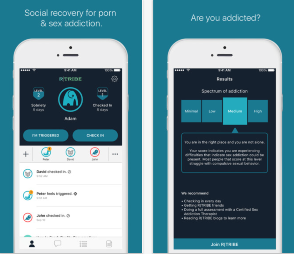 rTribe social recovery app for porn and sex addiction