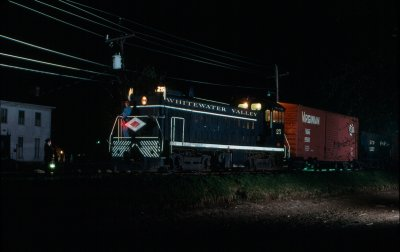 After a return to Connersville, an evening trip returned to Metamora for a series of night photos with the train finally returning to Connersville at 2 AM. Thanks are due to all the crew members of the Whitewater Valley!