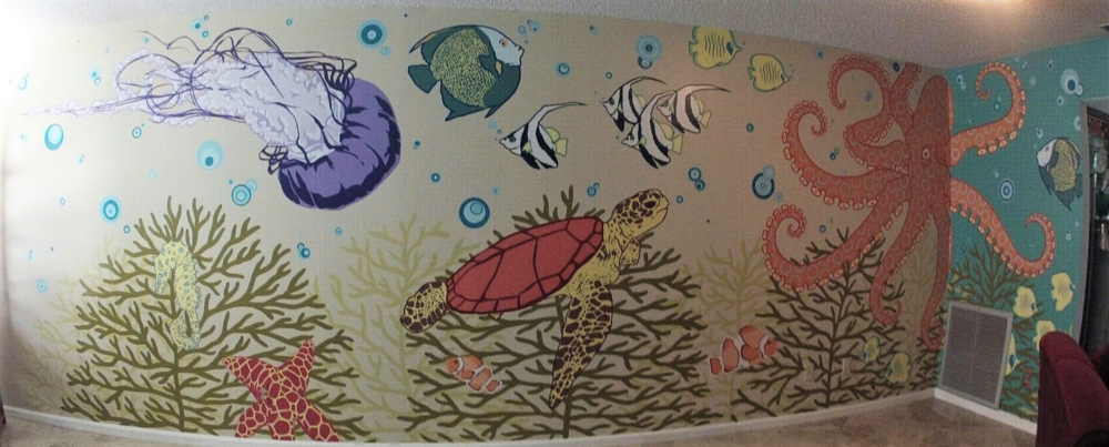 Life Under the Sea living room mural