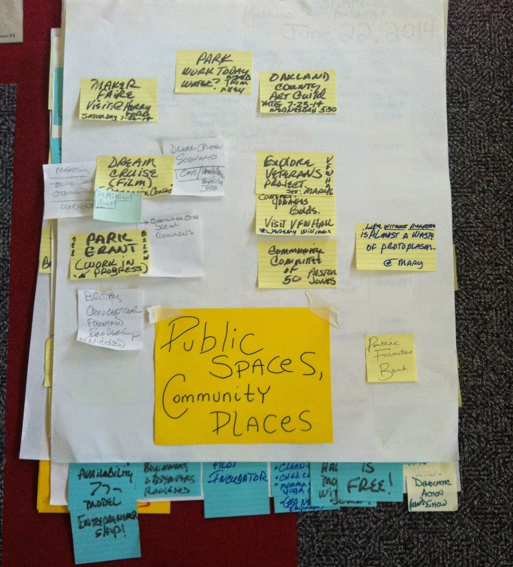 Public Spaces Community Places - A community sourced crowdfunding campaign developed while at the Oakland Arts Center in downtown Pontiac including the adjacent Hidden River Park and Buckner's Dessert Cafe.