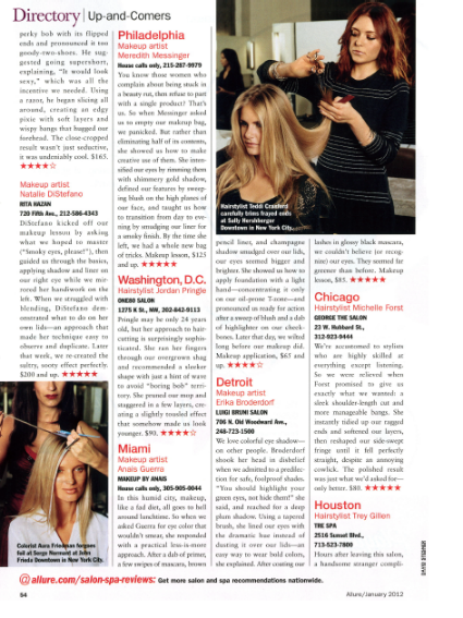 "Natalie (formerly DiStefano) was featured in the Allure ""Up and Comers"" Directory - January 2012"