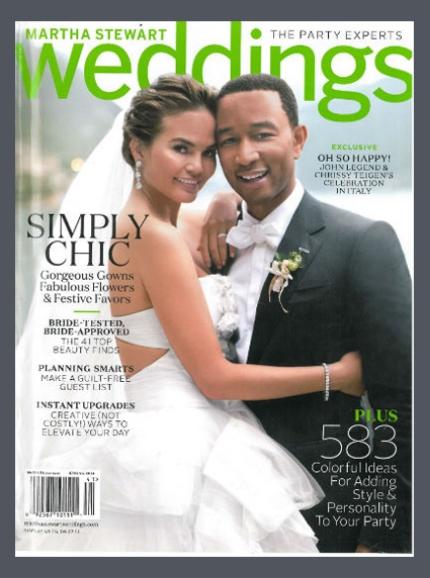 Natalie accompanied Chrissy Teigen and John Legend on their wedding day; as featured in Martha Stewart Weddings - Spring 2014