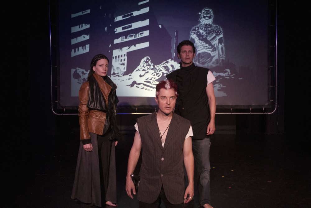 Casey McKinnon (Marcellus), Jacob Sidney (Hamlet), and Andy Hirsch (Horatio). Photo courtesy of  Kim Gottlieb-Walker .