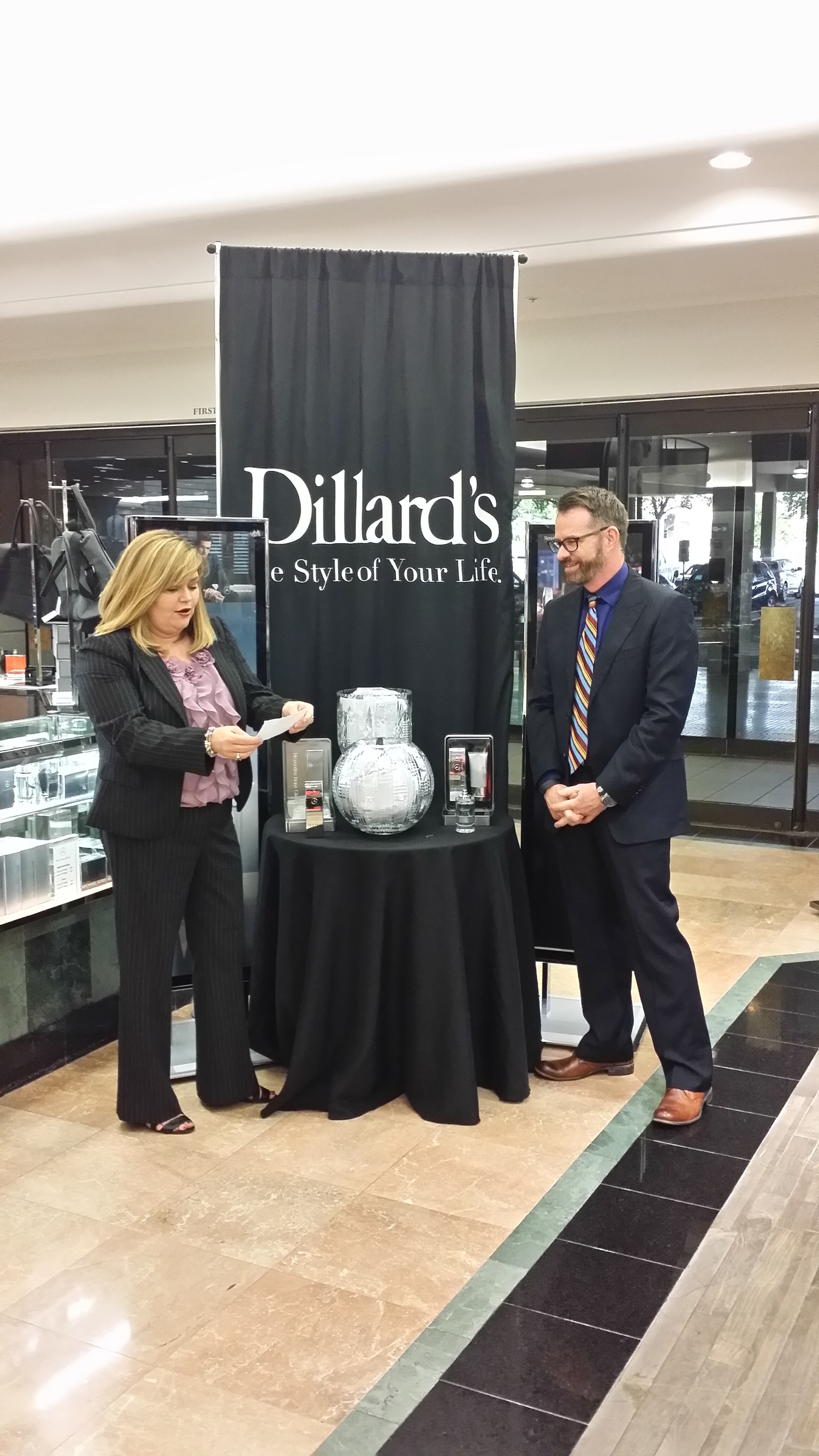 mercedes benz fragrance drives s at dillard s the bf journal andrea toney and mark lantz of dillard s selecting the winners of a 2 year lease