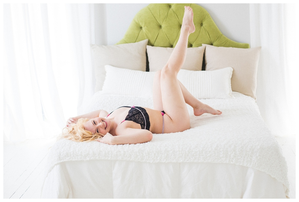 blonde beautiful joyful boudoir photography