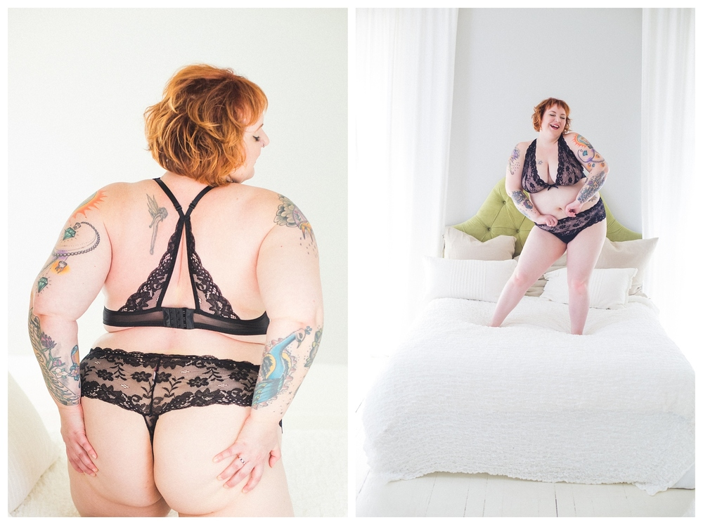 curvy tattooed bubble bath boudoir photography kansas city