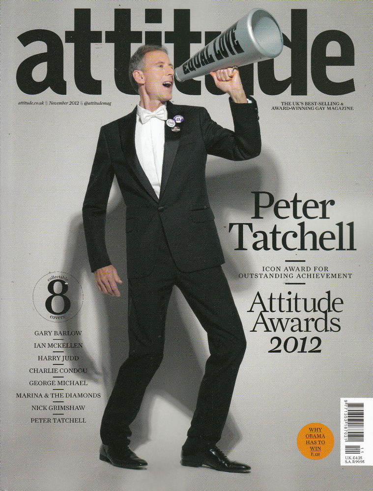 Peter on the cover of Gay lifestyle magazine Attitude.