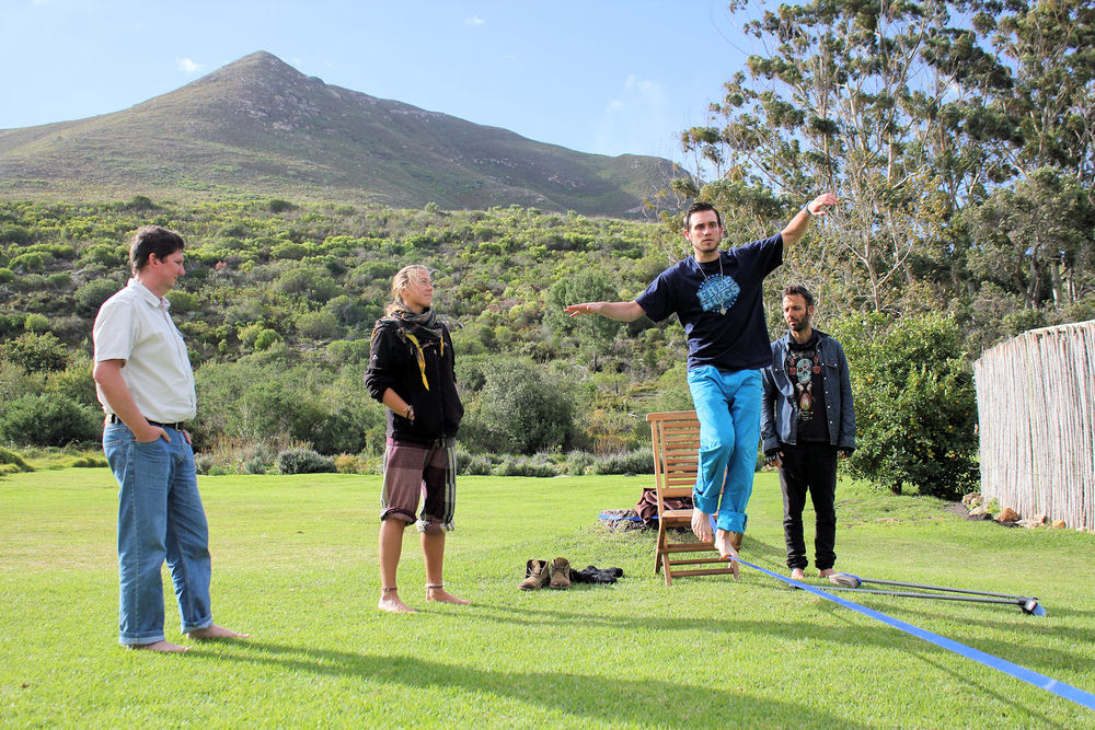 Slack line training used to teach lucid dreaming at a workshop in Capetown.