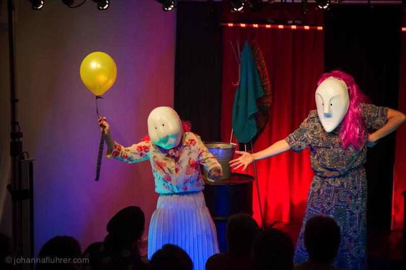 Johanna Fluhrer and Ashleigh Crane perform with Larval Mask