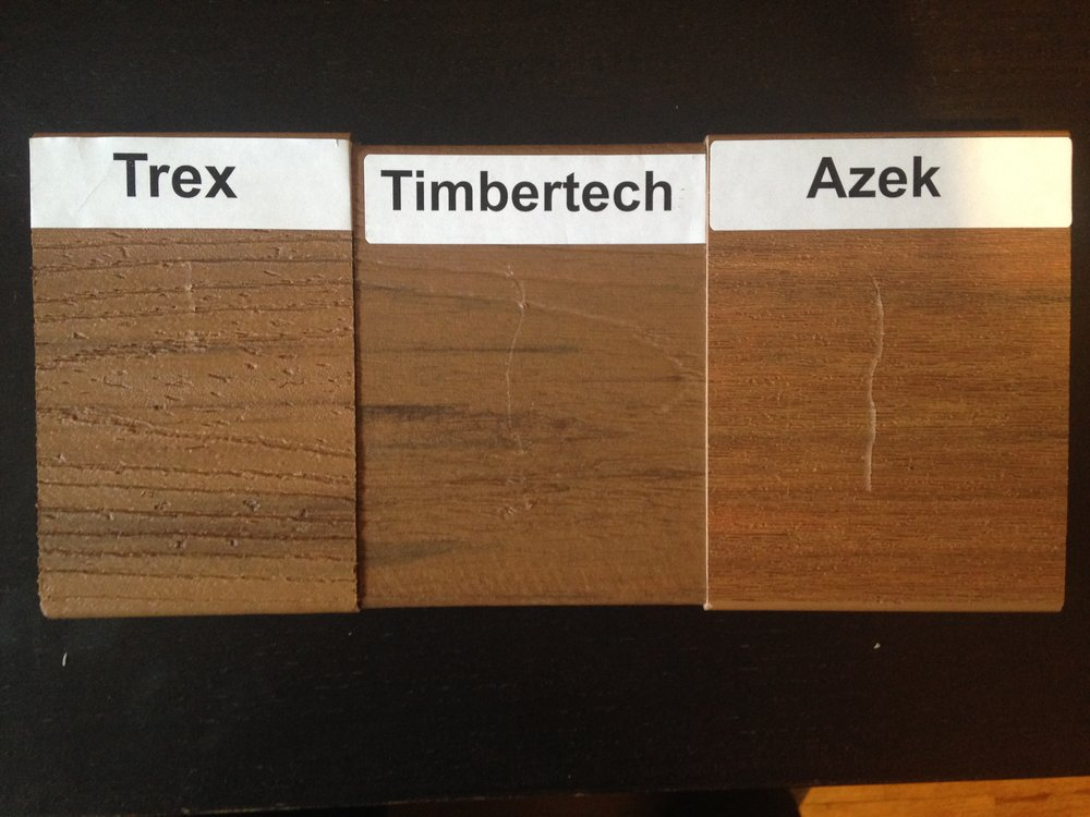 Trex Transcend Tiki Torch, Timbertech Tropical Collection Antigua Gold and Azek Vintage Collection Cypress scratch test showing that Trex is the most scratch resistant composite decking material.