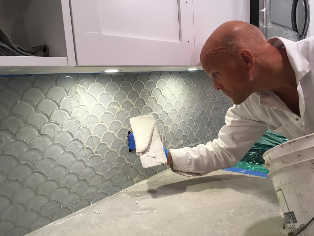 Joe grounding a new tiles