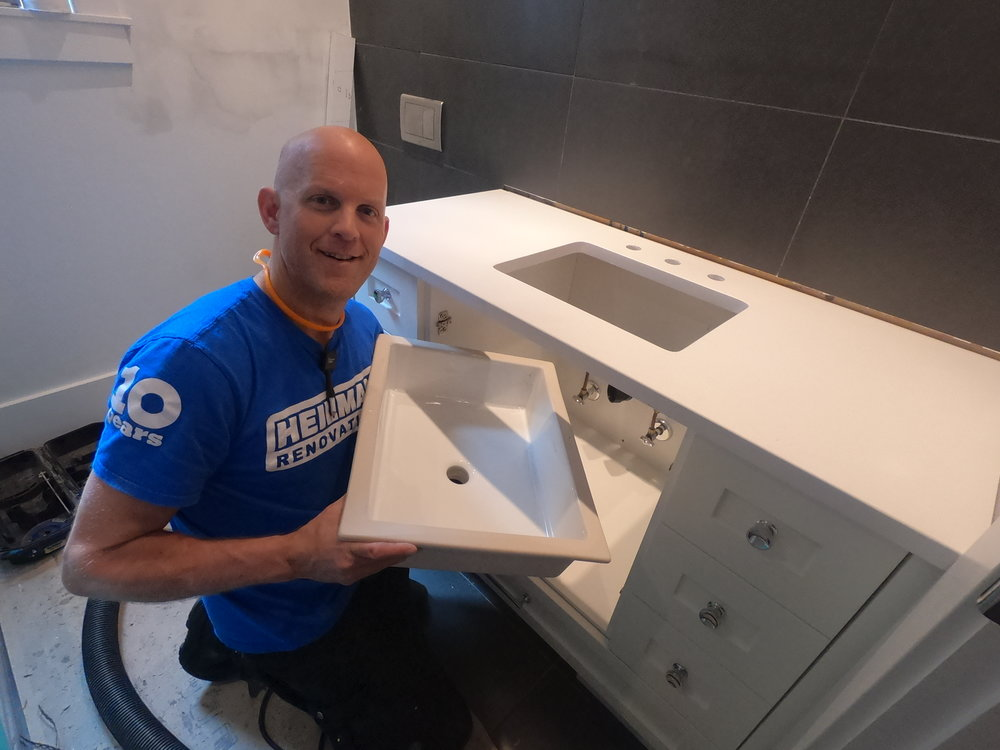 Joe is ready to install a square sink in new vanity