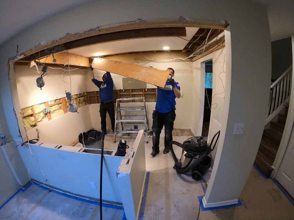 Removing drop on ceiling to modernized new kitchen