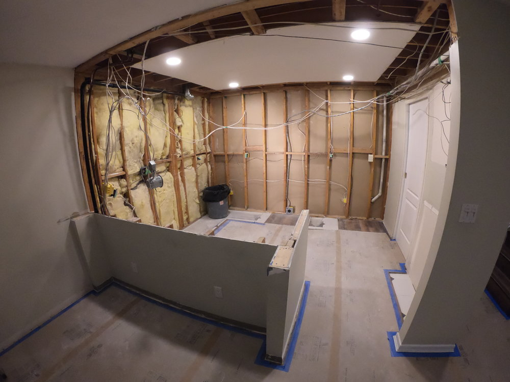 Wall ready for rewiring and new drywall
