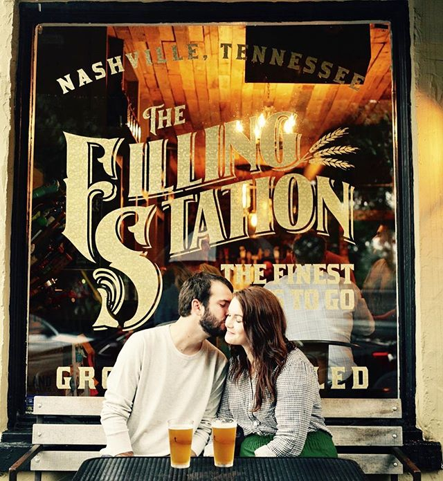 The Filling Station was perfect for this rainy engagement shoot! Can't wait for your wedding Daniel and Abby!:) • • • #nashvilleengagement #cutecouple #beer #thefillingstation #nashville #weddings #loveisintheair #kisses #craftbeer #snuggle