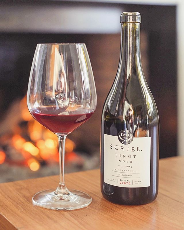 Y'all got your PSL's but we are all about chillin by the fire with a glass of of this deliciousness! @scribewinery . . . . . . . . . . . #scribe #scribewinery #pinot #pinotnoir #wine #fall #fire #chill #chilly #autumn @scribewine #california #sonoma #sonomacounty #winecountry #napa #napavalley #glass #relax #calm #insta #mondaymotivation #goals
