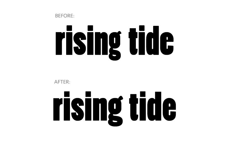 Before and after image of Rising Tide logo