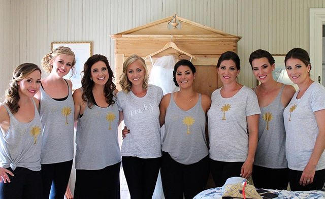 This wedding party. Our shirts. Gorgeous! #lovemyol #weddingshirts #mrstee #mrs #engagement