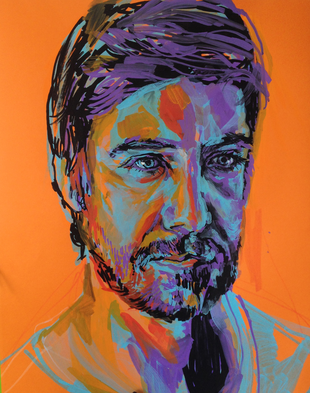 Portrait of Steven, 19.5 x 24, Acrylic Paint Pen and Acrylic Wash on Paper, Melissa Carmon