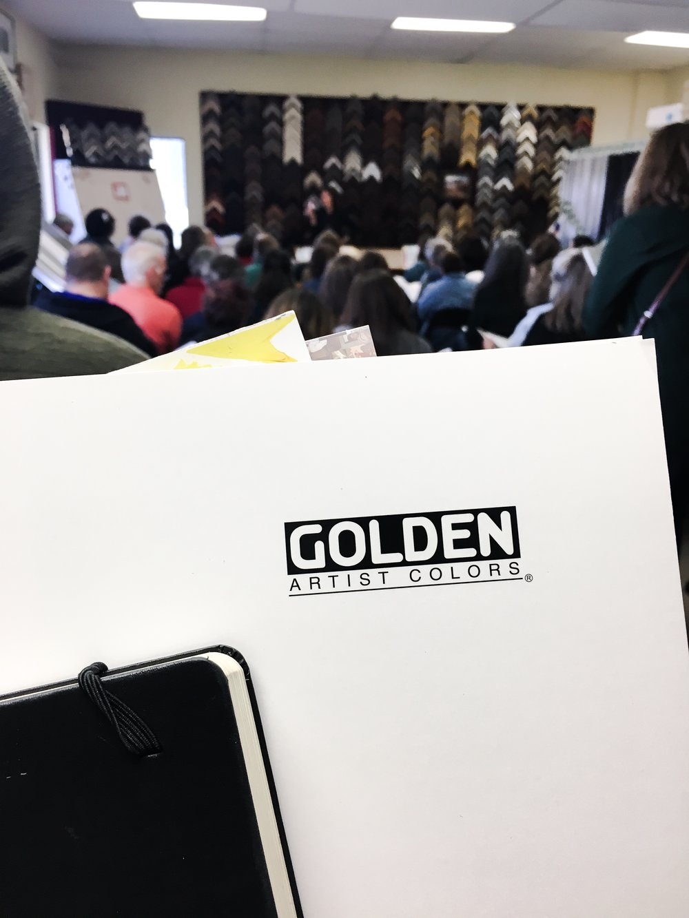 More than seventy acrylic artists came to learn about the inner workings of acrylic pastes, gels, and mediums at the Golden Artist Colors painting demo