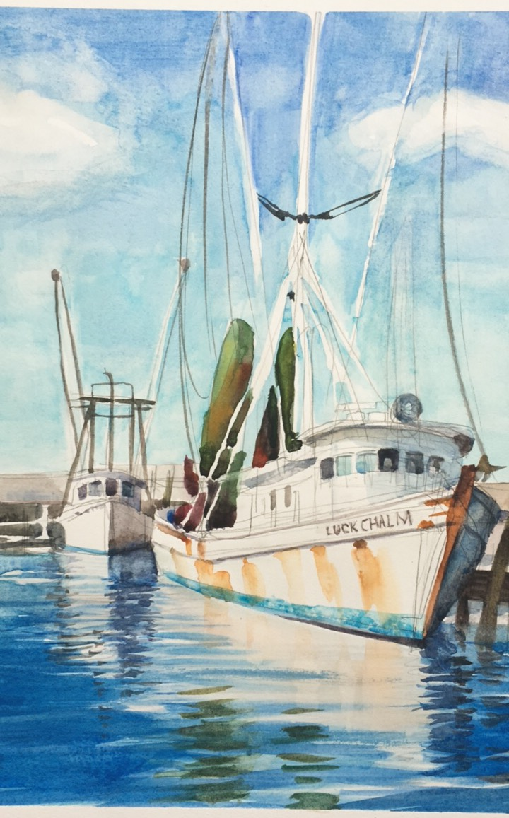 "My nearly finished painting of the ""Luck Chalm"", from Mark Silvers' watercolor class"