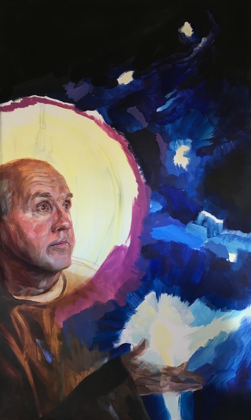 "St. Benedict and the Stars,  35"" x 60,"" Oil on panel, by Melissa Carmon"