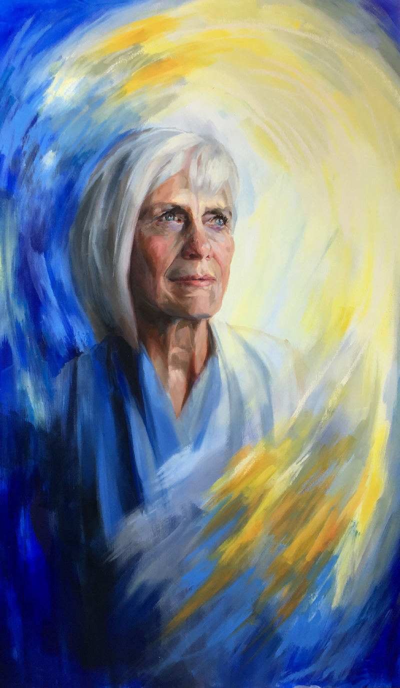 "St. Fabiola, 35"" x 60,"" Oil on Panel, by Melissa Carmon"
