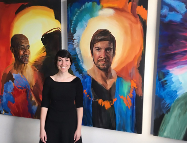 Melissa Carmon with her portrait series, Eternal Color: Stories of Saints from Antiquity.  These twice-life-sized portraits explore the individuality and impact of these twelve historical figures through portraiture, poetry, and music.