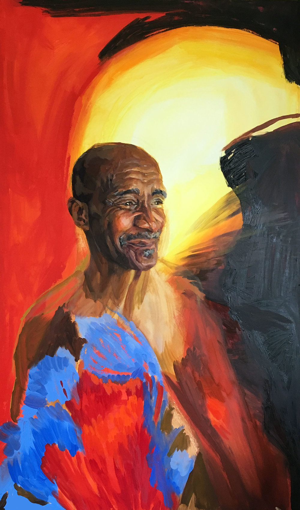 """Detail of St. Athanasius, Oil and Acrylic on Panel, 35""""x 60"""" by Melissa Carmon  The portrait of St. Athanasius, along with 11 others, will be on display at Bolt Gallery from Feb 1-28, 2019 in Downtown Fort Collins."""