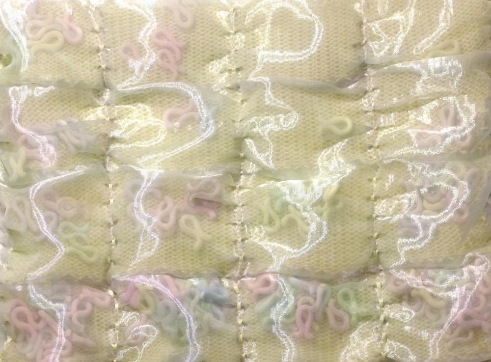 Brother single-bed: Sculpey beads, bamboo yarn, sheer silk fabric