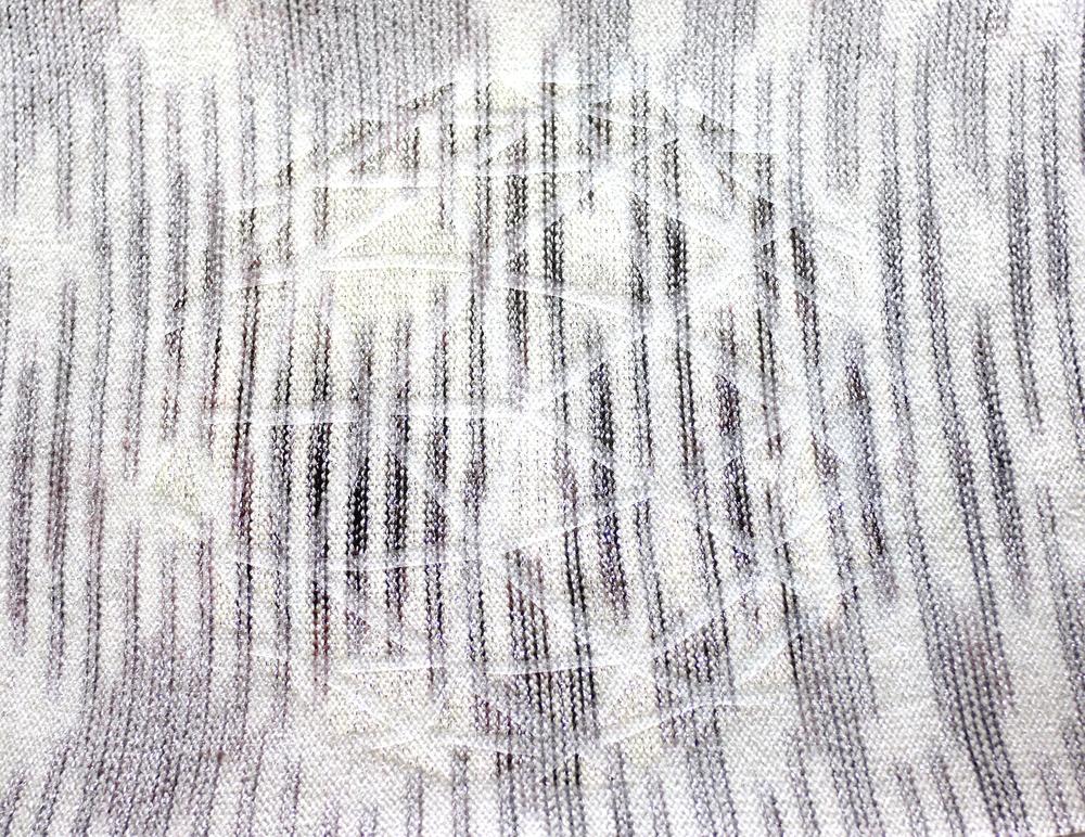 Brother single-bed: Heatpressed vinyl on hand-dyed merino & sparkle yarn