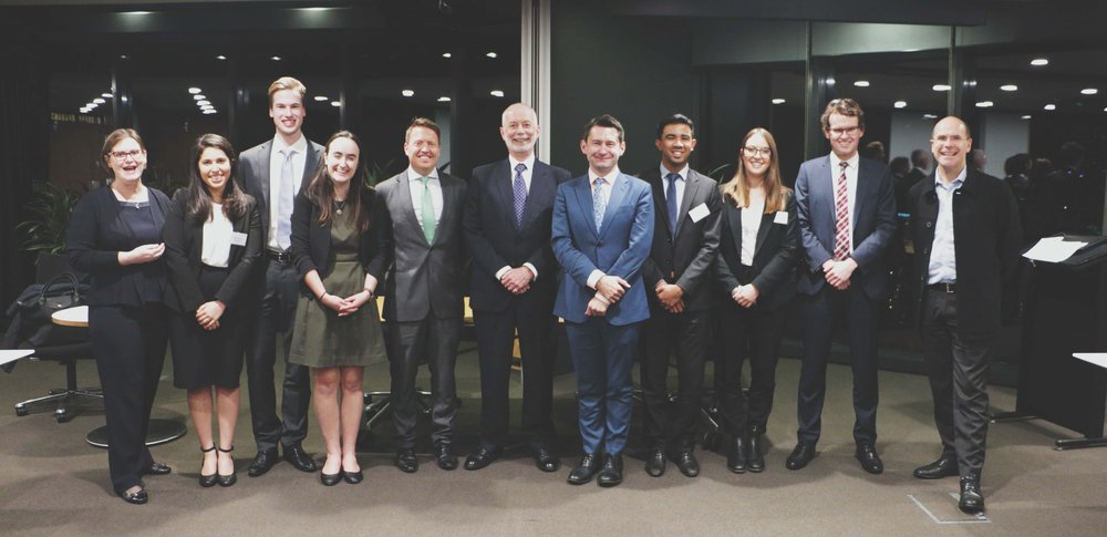 The grand finalists of the 2018 Allen & Overy Private Law Moot, from the University of Otago and Monash University, with The Honourable Justice RobertMcDougall(New South Wales Supreme Court); James Lee (UNSW/King's College London); Michael Shepherd (Partner, Allen & Overy); Professor Simone Degeling (UNSW Law); and Professor George Williams (Dean, UNSW Law).