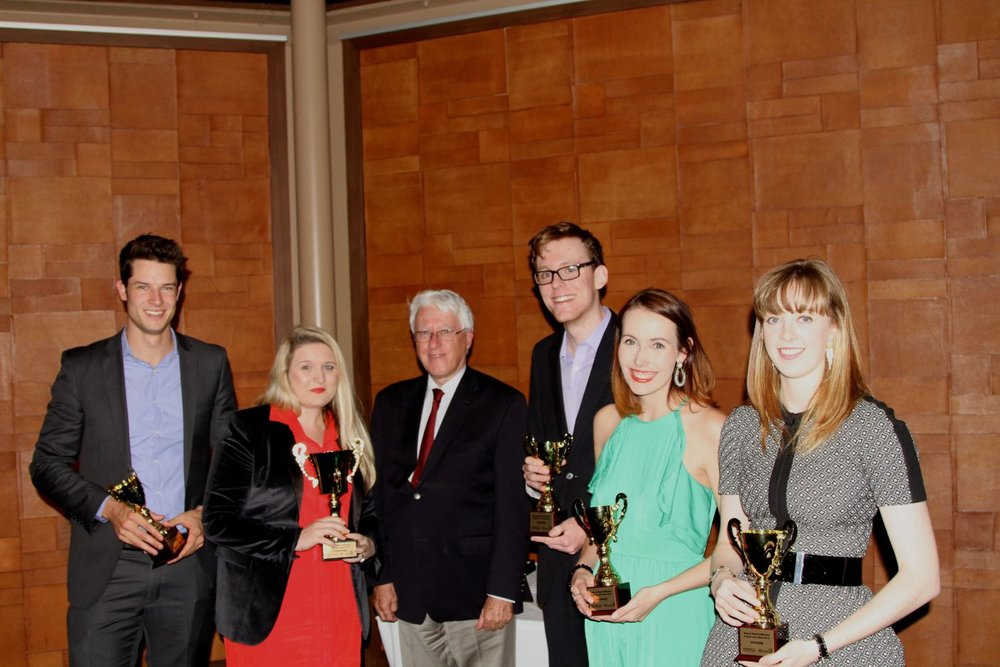 The winners of the 2014 King & Wood Mallesons Private Law Moot, from the University of Newcastle, with Keith Mason AC QC, former President of the NSW Court of Appeal .