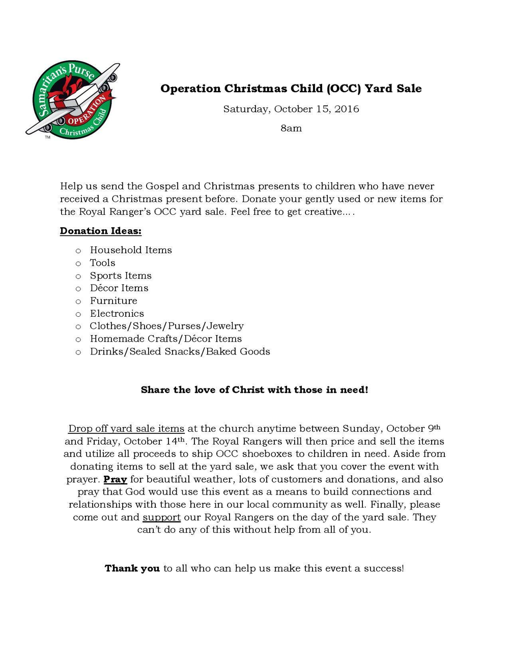 Operation Christmas Child — Marksboro Community Church