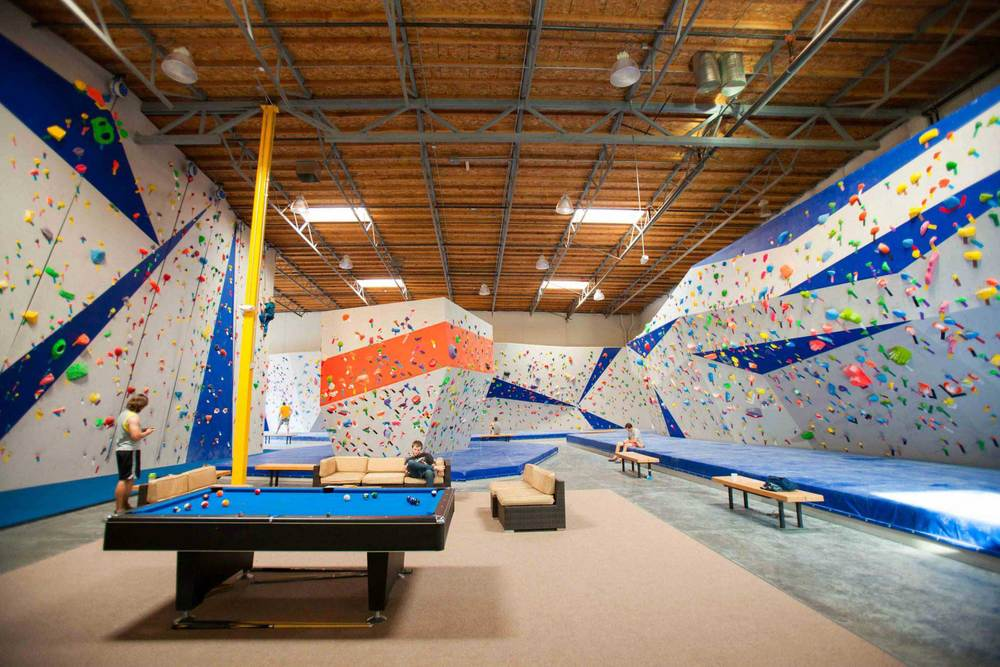 Interior of climbing gym