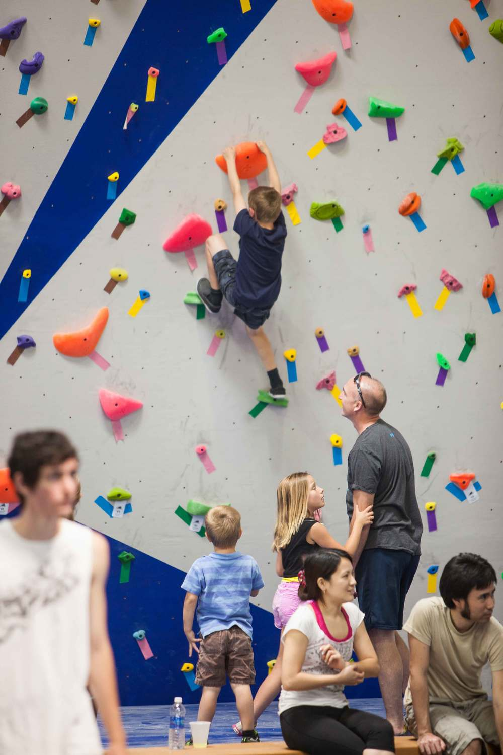 Kid on climbing wall