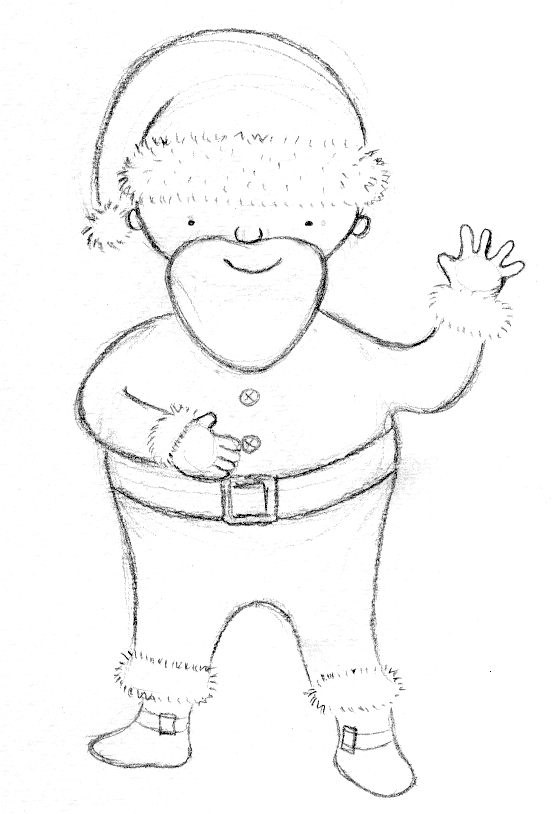 This was an early sketch for Santa - he was a bit too skinny!