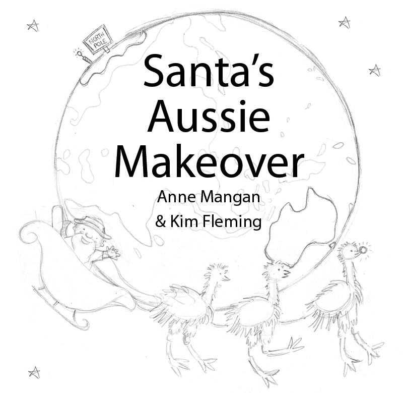 "one of many pages of cover ideas for True Blue Santa, at the time titled ""Santa's Aussie Makeover""!"