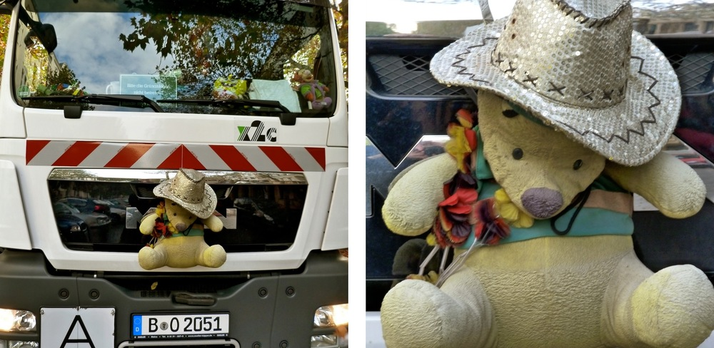 I'd like to introduce you to the God of Abandoned Objects, discovered yesterday on a Berlin garbage truck. He's the rumpled deity of half-forgotten dolls and bears of childhood-past. He's the chief idol of stilettos caught in street-grates and trodden-on sunglasses, smashed wine glasses and obsolete mobile phones.  If you stare into his little teddy eyes, you can clearly see the souls of everything you've ever loved and discarded. I saw the Barbie doll I dumped in a river age ten, various mix-tapes from ex-boyfriends, torn up drafts of previous novels, and a cracked porcelain dolphin I hadn't thought about in years. I stared for so long the garbage men thought I was flirting with them, rather than with the bear.