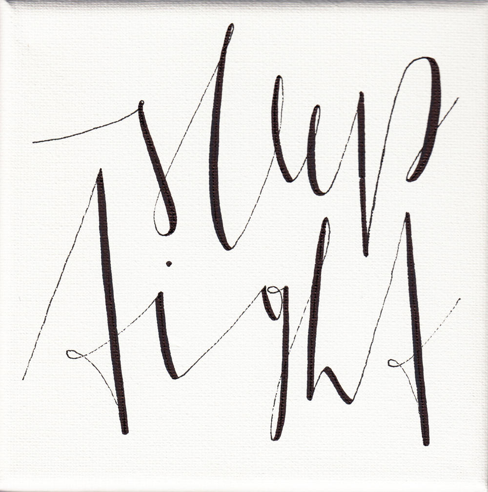 """sleep tight"", white, 15x15cm, € 16,-"