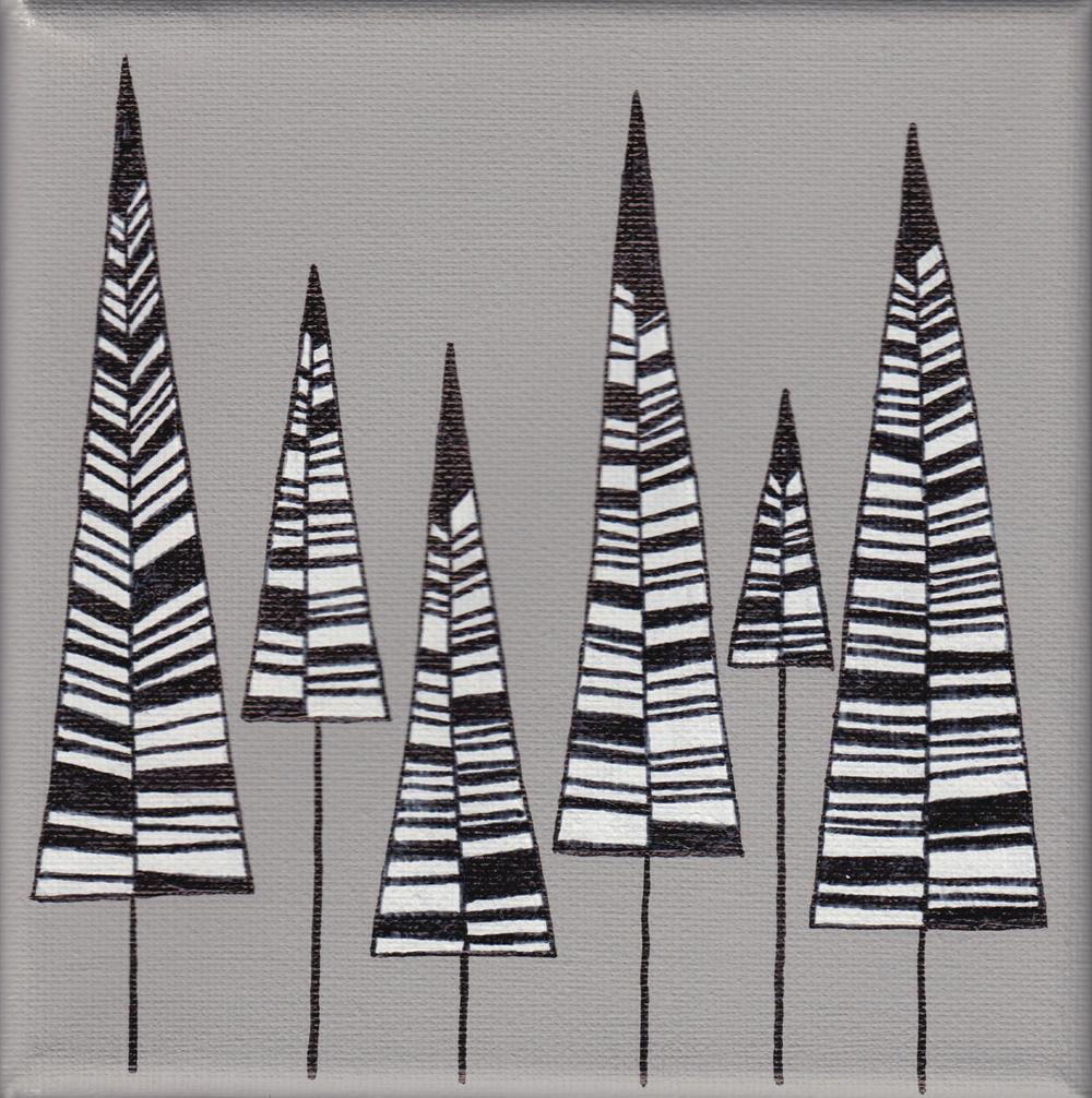 """trees"", teal, 15x15cm, € 28,-"