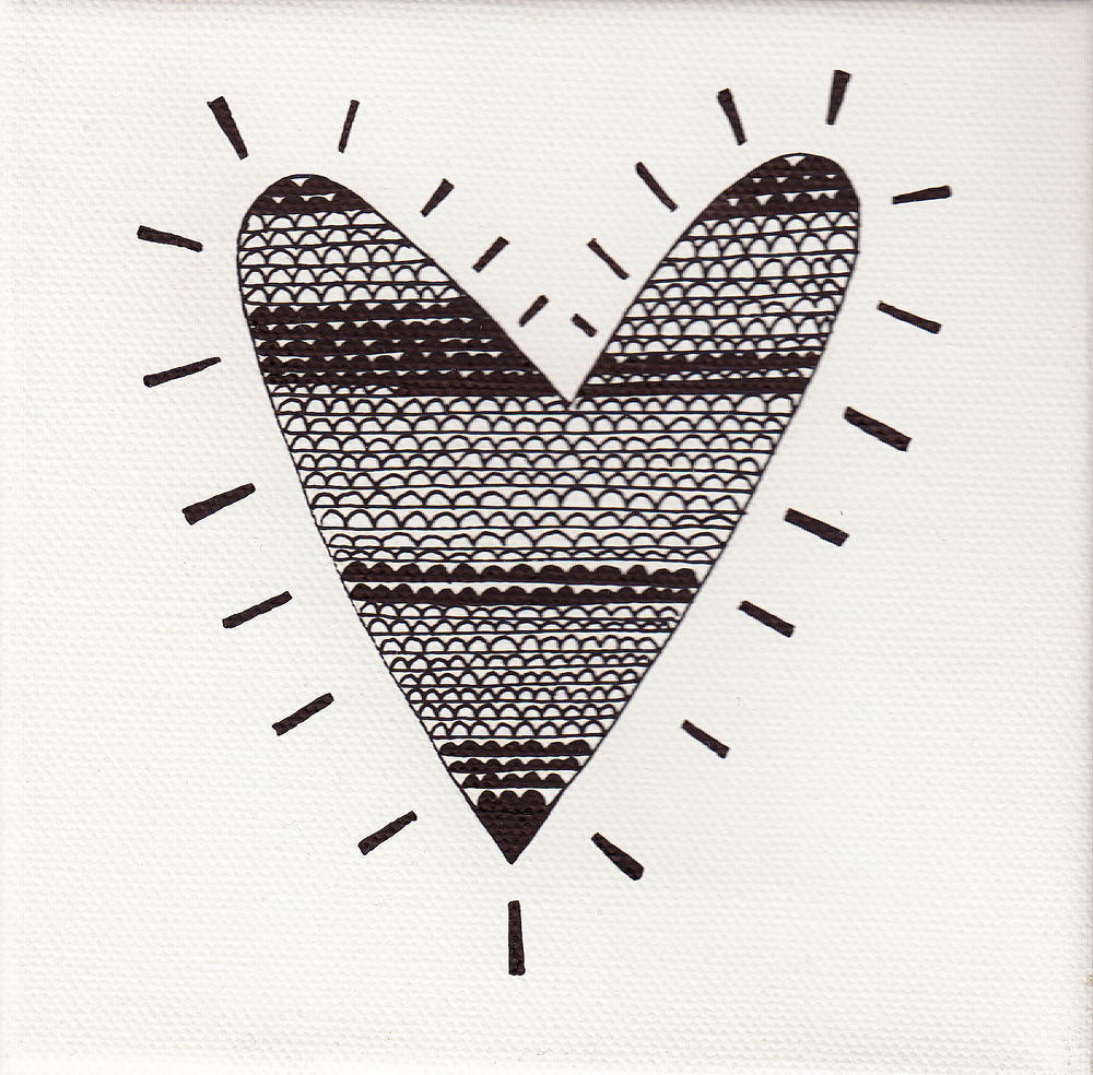 """heart waves"", white, 15x15cm, € 28,-"