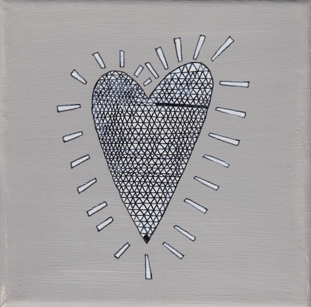"""""""heart cristall"""", teal, 15x15cm, € 28,-"""