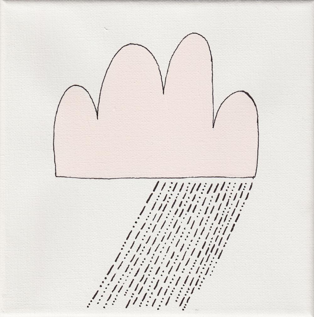 """""""rain"""", white, 20x20cm, € 34,-"""